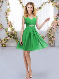 Super Green Empire V-neck Sleeveless Chiffon Mini Length Zipper Belt Court Dresses for Sweet 16