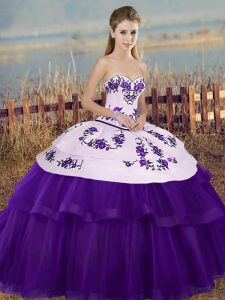 Luxury Tulle Sweetheart Sleeveless Lace Up Embroidery and Bowknot 15th Birthday Dress in White And Purple