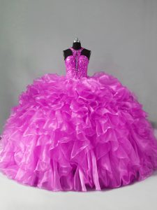 Best Organza Sleeveless Quince Ball Gowns Brush Train and Beading and Ruffles