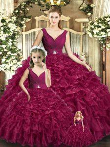 Elegant Burgundy Backless V-neck Beading and Ruffles Sweet 16 Dresses Organza Sleeveless