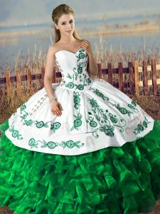 New Arrival Satin and Organza Lace Up Quinceanera Dresses in Dark Green with Embroidery and Ruffles