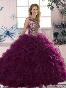 Extravagant Sleeveless Organza Floor Length Lace Up Quince Ball Gowns in Dark Purple with Beading and Ruffles