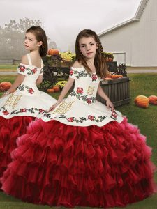 Simple Red Straps Lace Up Embroidery and Ruffled Layers Child Pageant Dress Sleeveless