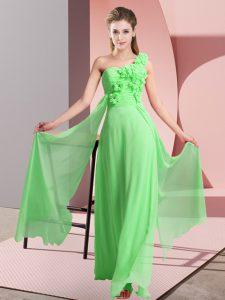 Hand Made Flower Vestidos de Damas Lace Up Sleeveless Floor Length