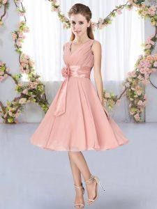 Artistic Knee Length Pink Damas Dress Chiffon Sleeveless Hand Made Flower