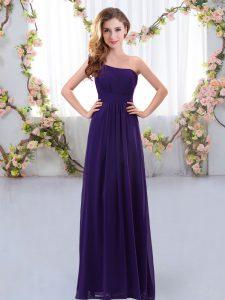 Hot Selling Floor Length Empire Sleeveless Purple Damas Dress Zipper
