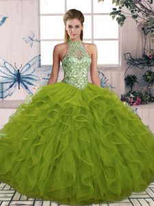 Wonderful Floor Length Ball Gowns Sleeveless Olive Green Sweet 16 Quinceanera Dress Lace Up