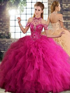 Sweet Fuchsia Halter Top Lace Up Beading and Ruffles Quinceanera Dresses Sleeveless