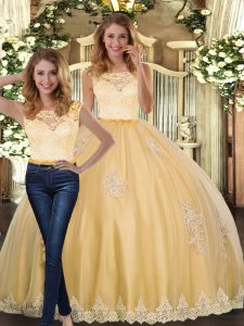 Floor Length Gold Sweet 16 Dresses Scoop Sleeveless Clasp Handle