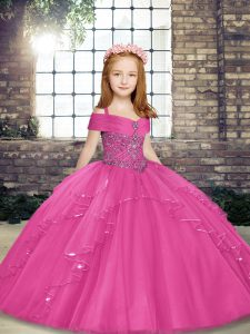 On Sale Tulle Straps Sleeveless Lace Up Beading Pageant Dress for Teens in Hot Pink