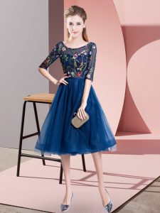 Fabulous Navy Blue Empire Tulle Scoop Half Sleeves Embroidery Knee Length Lace Up Quinceanera Dama Dress