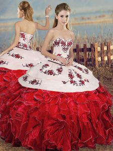 White And Red Sleeveless Floor Length Embroidery and Ruffles Lace Up Quince Ball Gowns