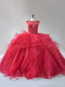 Scoop Sleeveless Organza Ball Gown Prom Dress Beading and Ruffles Brush Train Lace Up