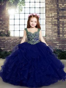 Ideal Sleeveless Floor Length Beading and Ruffles Lace Up Child Pageant Dress with Blue