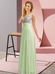 Custom Design Sleeveless Floor Length Beading Side Zipper Quinceanera Court of Honor Dress with Yellow Green