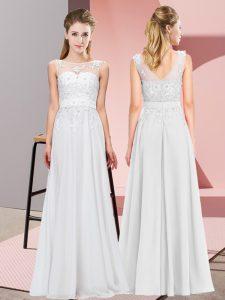 Fashion Scoop Sleeveless Chiffon Dama Dress Beading and Appliques Zipper