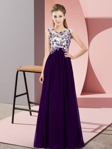 Fantastic Floor Length Empire Sleeveless Purple Court Dresses for Sweet 16 Zipper