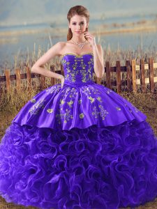 Flirting Sleeveless Embroidery and Ruffles Lace Up 15 Quinceanera Dress with Purple Brush Train