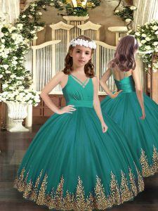 Floor Length Turquoise Little Girls Pageant Dress Tulle Sleeveless Embroidery