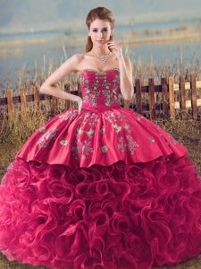 Perfect Ball Gowns Sweet 16 Dress Coral Red Sweetheart Fabric With Rolling Flowers Sleeveless Lace Up