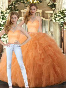 Floor Length Orange Sweet 16 Dresses Tulle Sleeveless Ruffles