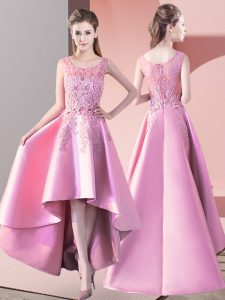 Baby Pink Scoop Neckline Lace Dama Dress Sleeveless Zipper