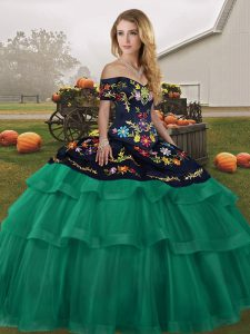 Fitting Green Sleeveless Tulle Brush Train Lace Up Sweet 16 Dresses for Military Ball and Sweet 16 and Quinceanera
