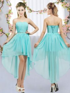 Inexpensive High Low Aqua Blue Quinceanera Court of Honor Dress Sweetheart Sleeveless Lace Up