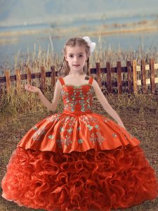 Custom Made Orange Red Ball Gowns Straps Sleeveless Fabric With Rolling Flowers Sweep Train Lace Up Embroidery High School Pageant Dress