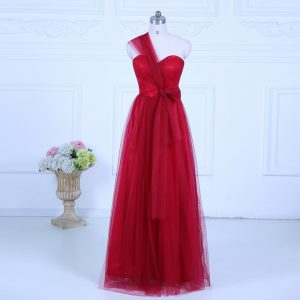 Wine Red Tulle Zipper One Shoulder Sleeveless Floor Length Damas Dress Ruching