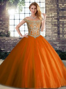 Cute Tulle Off The Shoulder Sleeveless Brush Train Lace Up Beading 15 Quinceanera Dress in Orange Red