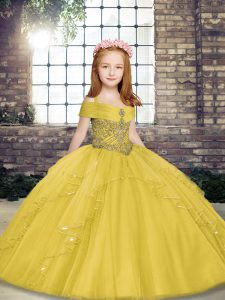 Yellow Ball Gowns Tulle Straps Sleeveless Beading Floor Length Lace Up Child Pageant Dress