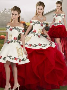 Sexy White And Red Lace Up Off The Shoulder Embroidery and Ruffles Ball Gown Prom Dress Tulle Sleeveless