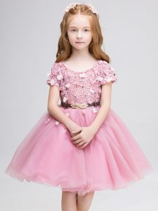 Pink Short Sleeves Tulle Lace Up Kids Pageant Dress for Wedding Party