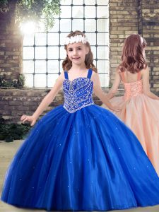 High End Ball Gowns Girls Pageant Dresses Royal Blue Straps Tulle Sleeveless Floor Length Lace Up