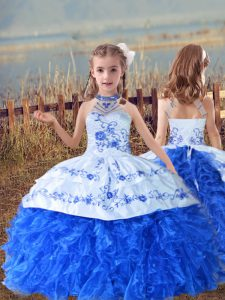 Latest Sleeveless Beading and Embroidery and Ruffles Lace Up Kids Formal Wear