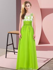 Designer Yellow Green Empire Appliques Damas Dress Backless Chiffon Sleeveless Floor Length