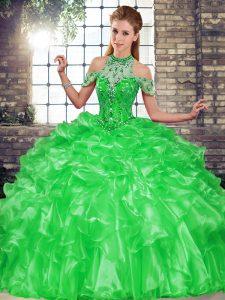 High Class Green Ball Gowns Beading and Ruffles Vestidos de Quinceanera Lace Up Organza Sleeveless Floor Length