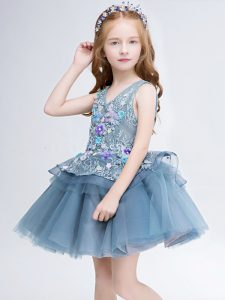 Flare Sleeveless Tulle Mini Length Lace Up Little Girls Pageant Dress Wholesale in Grey with Lace and Appliques
