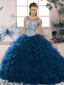 Navy Blue Scoop Neckline Beading and Ruffles Quinceanera Dresses Sleeveless Lace Up