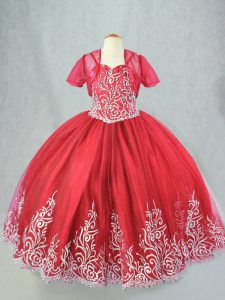 Affordable Floor Length Lace Up Little Girl Pageant Dress Red for Wedding Party with Beading and Embroidery