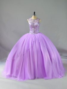 Latest Scoop Sleeveless Quinceanera Gown Floor Length Beading Lavender Tulle