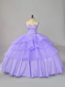 Clearance Sleeveless Beading and Ruffled Layers Lace Up Sweet 16 Dress with Lavender
