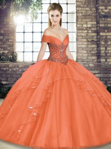 Hot Sale Beading and Ruffles Sweet 16 Dresses Orange Red Lace Up Sleeveless Floor Length