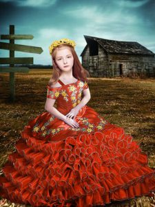 Extravagant Orange Red Short Sleeves Organza Lace Up Little Girls Pageant Dress Wholesale for Wedding Party