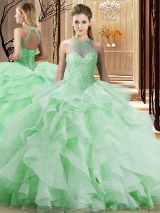 Sophisticated Apple Green Organza Lace Up Halter Top Sleeveless Quince Ball Gowns Brush Train Beading and Ruffles