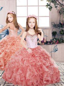 Glorious Floor Length Ball Gowns Sleeveless Red Child Pageant Dress Zipper