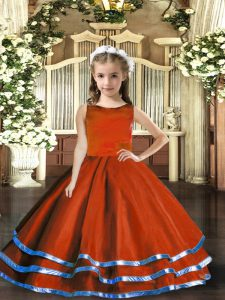 Simple Rust Red Tulle Lace Up Scoop Sleeveless Floor Length Little Girls Pageant Dress Wholesale Ruffled Layers