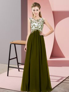 Sleeveless Chiffon Floor Length Zipper Quinceanera Court Dresses in Olive Green with Beading and Appliques