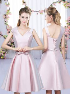 Fabulous Satin Asymmetric Sleeveless Lace Up Bowknot Dama Dress for Quinceanera in Baby Pink